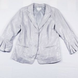 Spiegel gray/silver 2 button bell sleeve blazer!